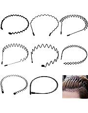 TAFAFTL 8 stycken metallhårband, unisex hårband våg vårpannband multistil hårband för utomhus sport yoga med gummiband
