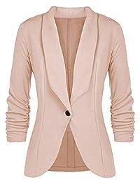 Kalin Women's 3/4 Ruched Sleeve Slim Suit Jackets Casual Business Work Blazer