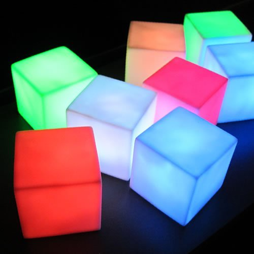 Tabletop Centerpiece Cube Lamps (Set of 6) - Battery Operated LED Centerpiece Lamp Light with 8 Color Modes (Square Cube Shape) … -