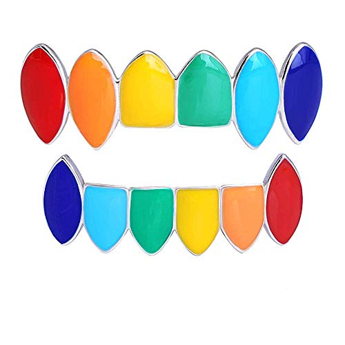 BESHINE Tekashi 6ix9ine Grillz, 14K Party Decoration Hip Hop Teeth Iced Out Silver Fang Grillz Top and Bottom Teeth Rainbow Grillz Set (Silver, Copper)