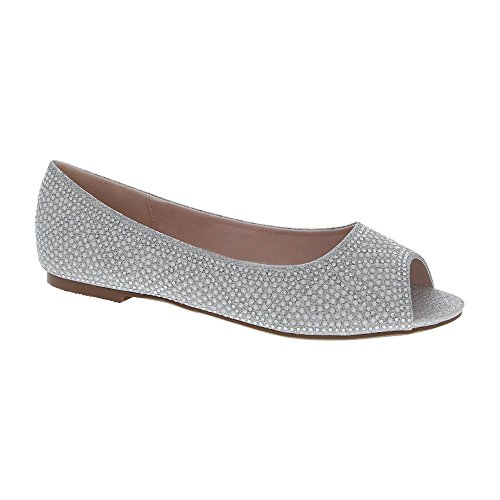 De Blossom Collection Women's Dressy Party Faux Pearl and Rhinestone Embellished Peep Toe Ballet Flat Silver (Ballet Peep Toe Flats)