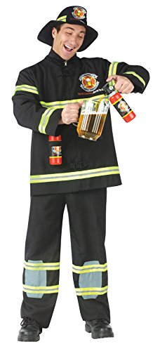 UHC Men's Fill Er Up Fireman Firefighter Outfit Fancy Dress Halloween Costume, Plus