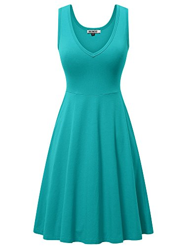 HUHOT Sun Dress, Women A-Line Midi Dresses for Women with Pockets(Turquoise,Small)