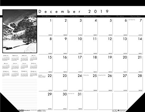 House of Doolittle 2020 Monthly Desk Pad Calendar, Black on White Series, 22 x 17 Inches, 13 Months, December - December (HOD122-20)
