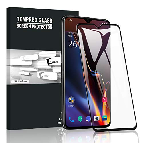 AVIDET Oneplus 6T Screen Protector,[Anti-Scratch][Bubble Free] 9H Hardness 0.3mm Ultra Slim 3D Full Coverage Premium Tempered Glass Screen Protector Oneplus 6T (Black)