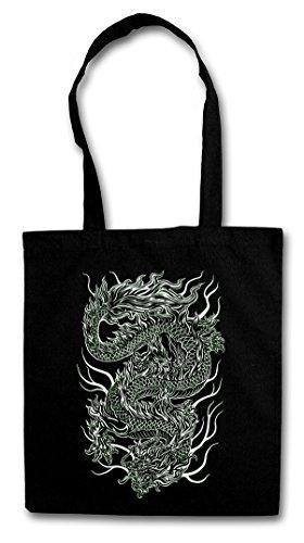 CHINESE TATTOO DRAGON Hipster Shopping Cotton Bag Cestas Bolsos Bolsas de la compra reutilizables - Asia dragón chino cinese Flash Oldschool Rockabilly