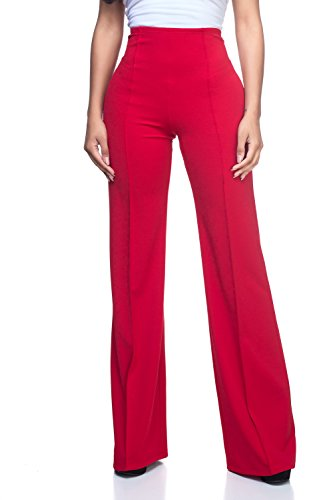 (Women's J2 Love High Waist Bell Bottom Flare Pants, Large, Red)