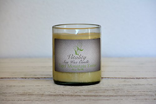 Vitality Essential Oil Soy Wax Candle. Hand poured into an upcycled wine bottle | 14 ounces - Burns 55+ - Hours Outlet Seattle