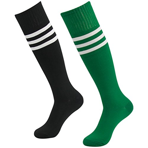 - Fasoar Women Men Youth Girls 2-Pair Referee Knee High Socks, Black Green on Color Stripes Socks