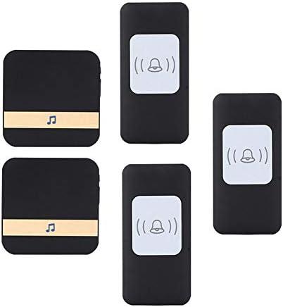 ワイヤレス防水ドアベル、ユニバーサルスマートドアチャイム300m動作範囲ドアチャイム、3プッシュボタン+2 レシーバー、52着信音、4ボリュームレベル,黒