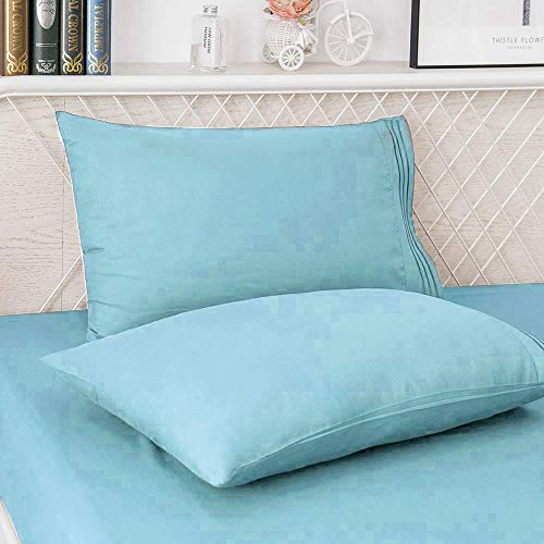 Mejoroom Queen Size Sheets,1800TC Luxury Egyptian Queen Sheets with 15-inch Deep Pocket,Premium Bedding Collection - Extra Soft Breathable Wrinkle Fade Hypoallergenic - 4 Piece (Queen, Aqua)