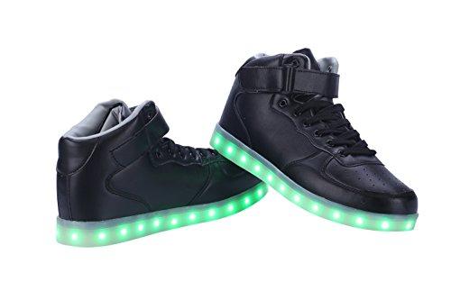 Greatjoy Coole Fun Light Led Schoenen Sneaker 7 Kleuren Usb Charging Black