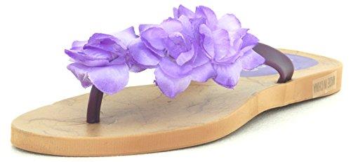 Femmes Multi Couleur Gelée Tong Flip Tong Sandale Plage Pantoufle Equa Chaussure Violet Fleur