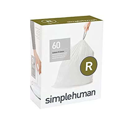 simplehuman code R custom fit liners, 3 refill packs (60 liners), Code R - 10L / 2.6 Gallon, White