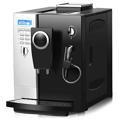 COSTWAY Super Automatic Espresso Machine, 19 Bar Pump, Built-In Milk Frother & Steamer, All-In-One Espresso Machine, Stainless Steel Removable Water Tank and Drip Tray, Frothing for Cappuccino and Latte, Barista Touch Coffee Machine (Silver+ Black) by COSTWAY (Image #1)