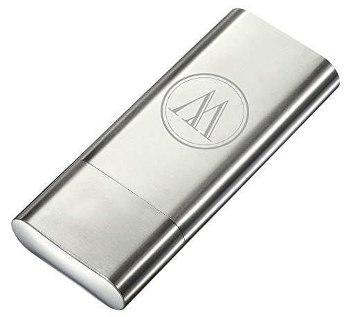 Visol Toledo Stainless Steel 2 Finger Cigar Case and Flask with Personalized Engraving of Initial (Silver)