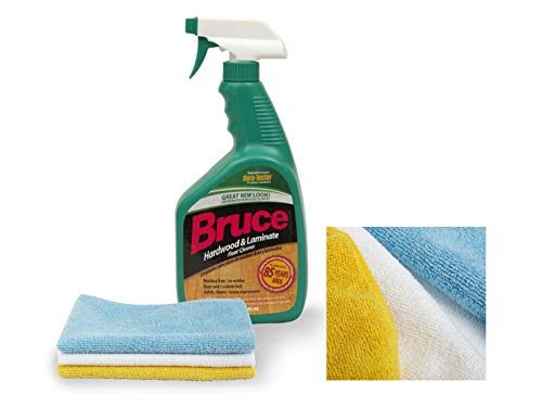 Bruce 32 fl oz Hardwood and Laminate Floor Cleaner Spray | With Three Microfiber Cleaning Cloth | Yellow Blue and White