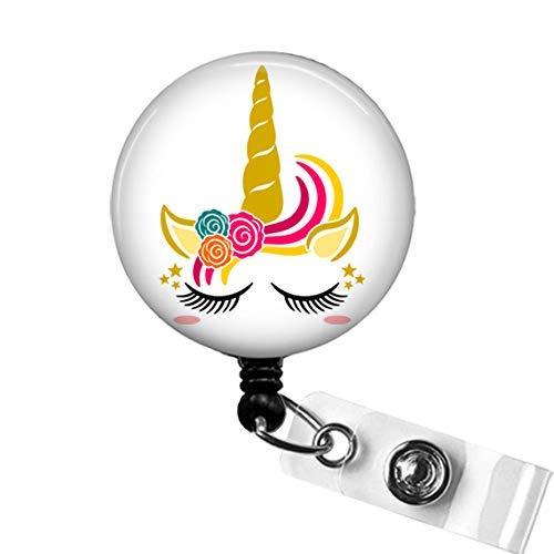 retractable badge holder planner clip baby unicorn badge holder