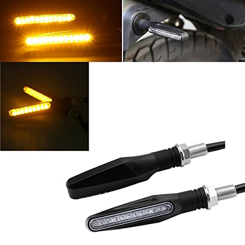 Clignotant moto 12LED orange 12V Flexible Pliable ESS TECH® 1 Paire Lampe Z750 Z1000 Bandit Duke Cross Scooter Aerox Spirit Booster ZRIHET