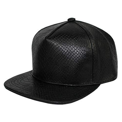 (Xtra Plain Snakeskin PU Leather Snapback Baseball Cap Women Unisex Adjustable Flat Brim Hat Men (Black))