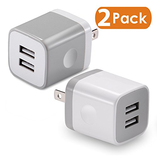 Single Usb Wall Charger (USB Wall Charger, BEST4ONE 2-Pack 2.1A/5V Dual Port USB Plug Power Adapter Charging Cube for iPhone X 8/7/6 Plus SE/5S/4S,iPad, iPod, Samsung, Android Phone)