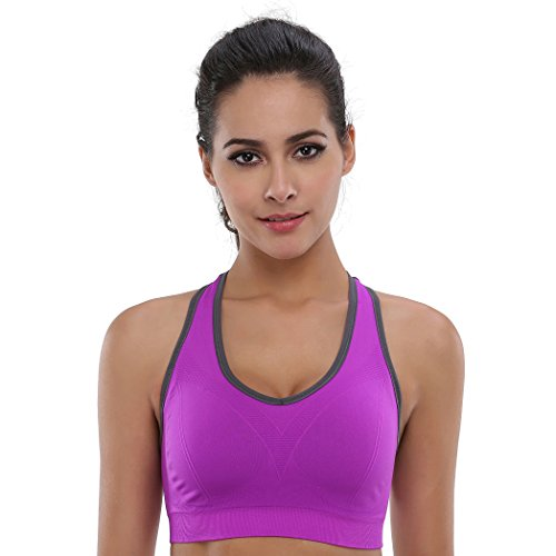 BAOMOSI Women's Seamless High Impact Support Racerback Workout Yoga Sports Bra Purple M