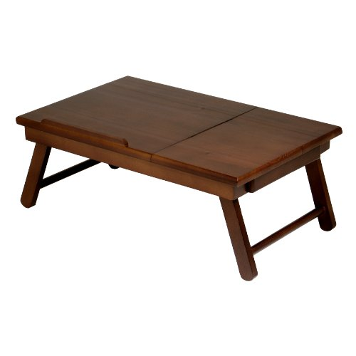 Winsome Wood Alden Lap Desk, Flip Top with Drawer, Foldable Legs (Legs Solid Walnut)