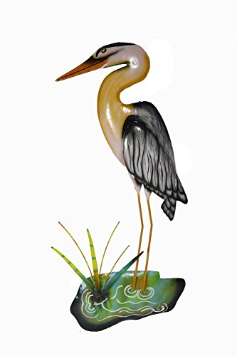 Hand Carved Metal Blue Heron Wall Art Hanging Tropical Nautical - Heron Hanging Wall