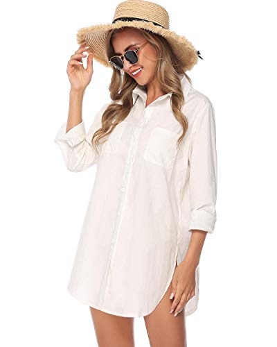 Hawiton Womens Basic Work Button Down Shirt Long Sleeve Top Blouse with - Long Sleeve Nylon Blouse