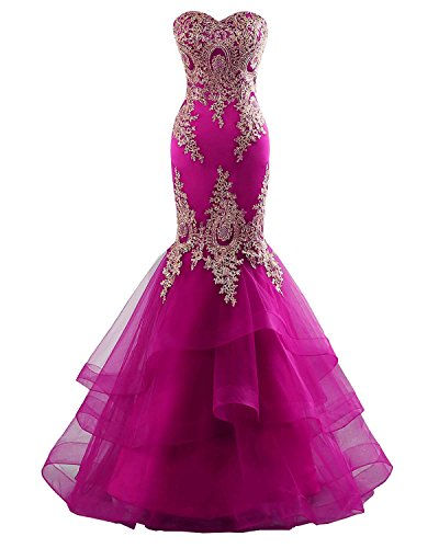 Changuan Mermaid Evening Dress for Women Backless Formal Long Prom Dresses with Embroidery Fuchsica-2 ()