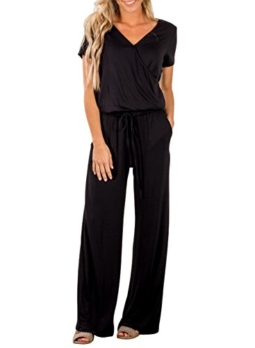 (Dearlove Womens Casual V Neck Short Sleeve Loose Wide Legs Elastic Waist Long Pant Jumpsuits Rompers with Pockets Solid Black Small)