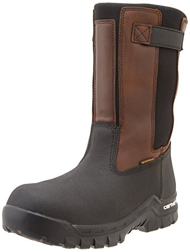Carhartt Men's 10'' Wellington Waterproof Leather Pull On Boot CMF1391, Brown Oil Tan/Black Coated, 9.5 W US by Carhartt