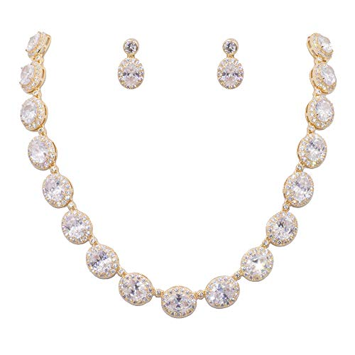 (Lavencious Tennis Oval Necklace & Earrings Jewelry Set AAA Cubic Zirconia Rhodium Plated (Gold))