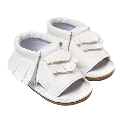 Koly primeros pasos - niños Prewalker Zapatos, Zapatos de bebé de borla, sandalias de borla (12CM, Blanco) Blanco