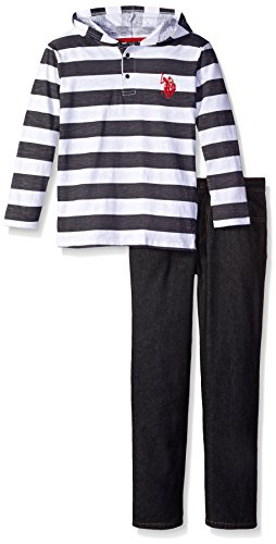 Denim Embroidered Pant Set - 6