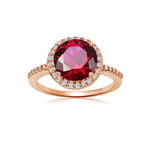 Ruby Red Flashed - Rose Gold Flashed Sterling Silver Simulated Ruby and Cubic Zirconia Round Halo Ring, Size 7