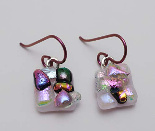 (Petite Pink mini bubble fused Dichroic Glass dangle Earrings Niobium ear wires #358 )