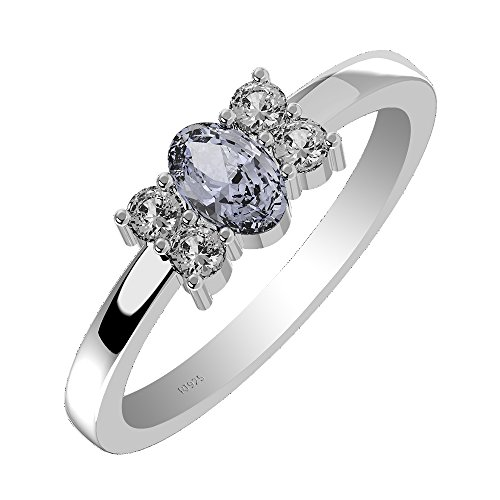 0.25ctw,Genuine Tanzanite 3x5mm Oval & Solid .925 Sterling Silver Ring (Size-7.5) ()