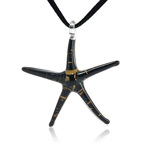 Hand Painted Murano Glass Black Golden Glitter Starfish Black Leather