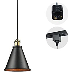STGLIGHTING 1-Light H-Type Track Light Pendants 4.9 Feet Cord Vintage Pendant Lamp Industrial Factory Style Light Fixtures for Restaurant Bulb Not Included