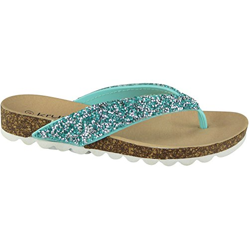 Mode des Dames Chappal Caleçon 36 41 Toe Post Chaussures Sandales Plats Été LoudLook Taille Sur Turquoise Femmes Rv8gI