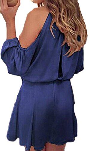 Cromoncent Femmes Manchon Lanterne Épaule Froide Couleur Unie Haute Mini Robe Bleu Wasit