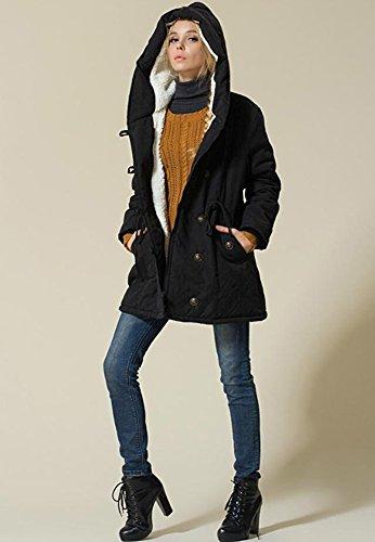 Mujer Negro Caliente Parka Algodón Invierno Extra Mangas Mantener Hooded Coat Clásico Sportswear Chaqueta Abajo Minetom Larga Talla Casual Sudadera Estilo wxP0HqYP4