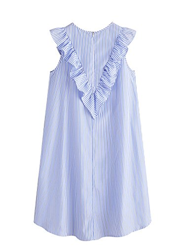 Front White Tunic Ruffle Floerns Striped Dress Vertical and Women's Blue gnnqwFfIx