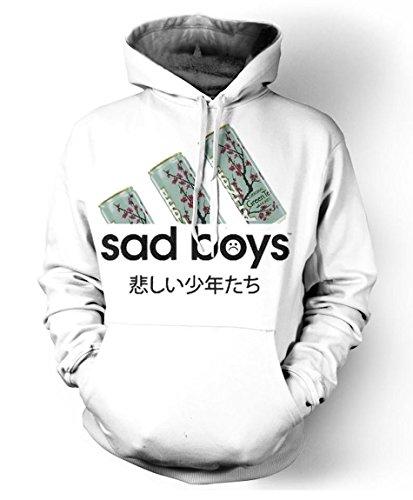 Men Hoodie Sad Boys Print Pullovers Sweatshirt