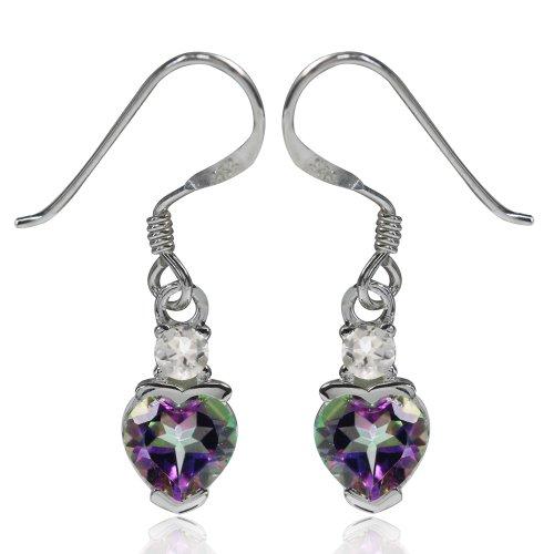 Mystic Fire Topaz Heart (1.76ct. Heart Shape Mystic Fire Topaz 925 Sterling Silver Dangle Earrings)