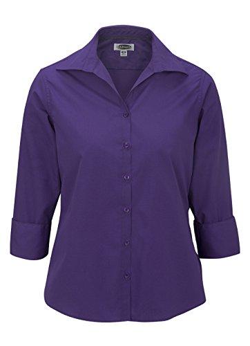 Edwards Garment Women's 3/4 Sleeve Poplin Blouse, Purple, Small ()