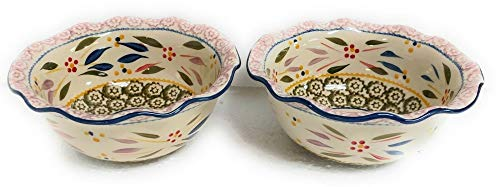 Old World Confetti S/2 Baker 1.0 Qt Ruffle Edge Bowl Dish Casserole Set of 2 K39692 Tkoutlet