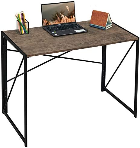 "Coavas Folding Desk No Assembly Required, 40"" Writing Computer Desk Space Saving Foldable Table Simple Home Office Desk,Brown"