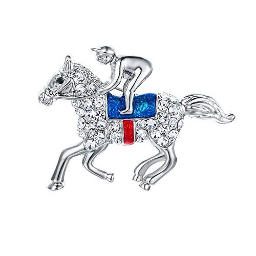 EVER FAITH Austrian Crystal Gorgeous Horse Animal Saddlemen Cowboy Brooch Clear Silver-Tone